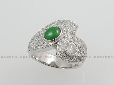 ダイヤとヒスイを使ったデザインリング