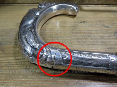 シルバー取手の杖の修理