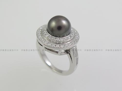Pt900パール/ダイヤ取巻きリング