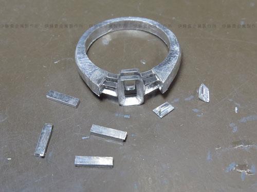 ラディアントカットダイヤリング作業過程