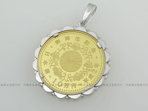 天皇陛下御即位記念10万円金貨コイン枠-裏面