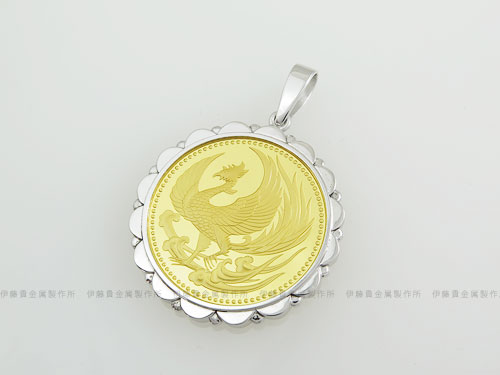 K18WG製平成天皇在位10万円金貨枠