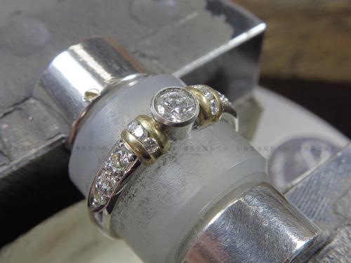 Pt900/K18YGリングのダイヤ爪交換