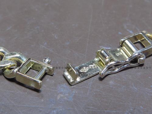 K18YGブレスレット 中折れ金具修理