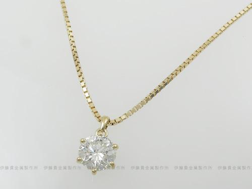 K18YG 3ctダイヤペンダント