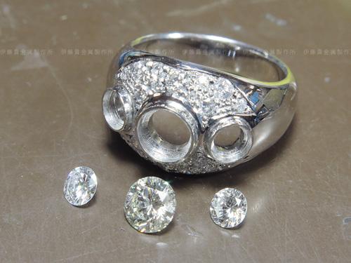 ダイヤリング 中石の石留め